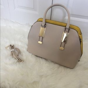 Beige Aldo Satchel w/ Yellow & Gold Detail
